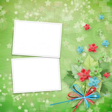 Card for invitation or congratulation with frames and bunch of o