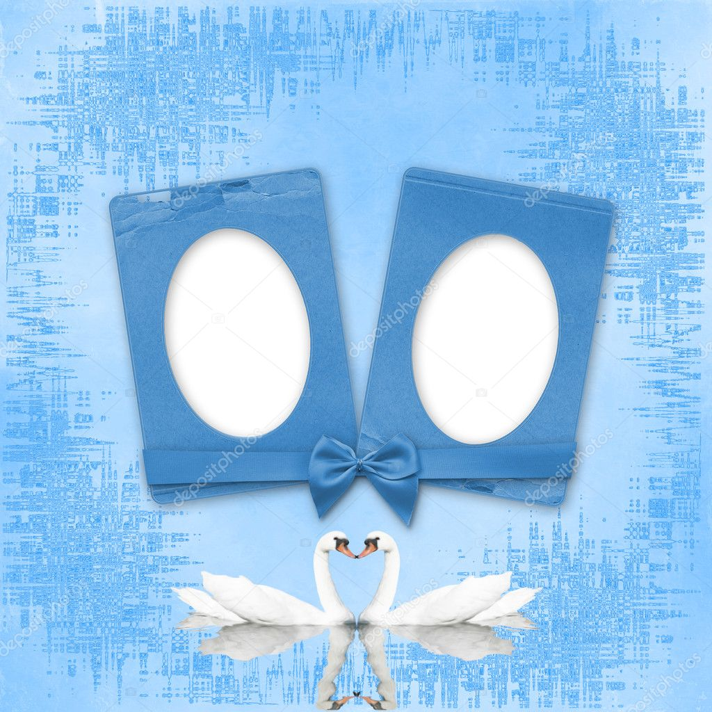 grußkarte zur hochzeit mit frames auf blauem hintergrund — Stockfoto ...