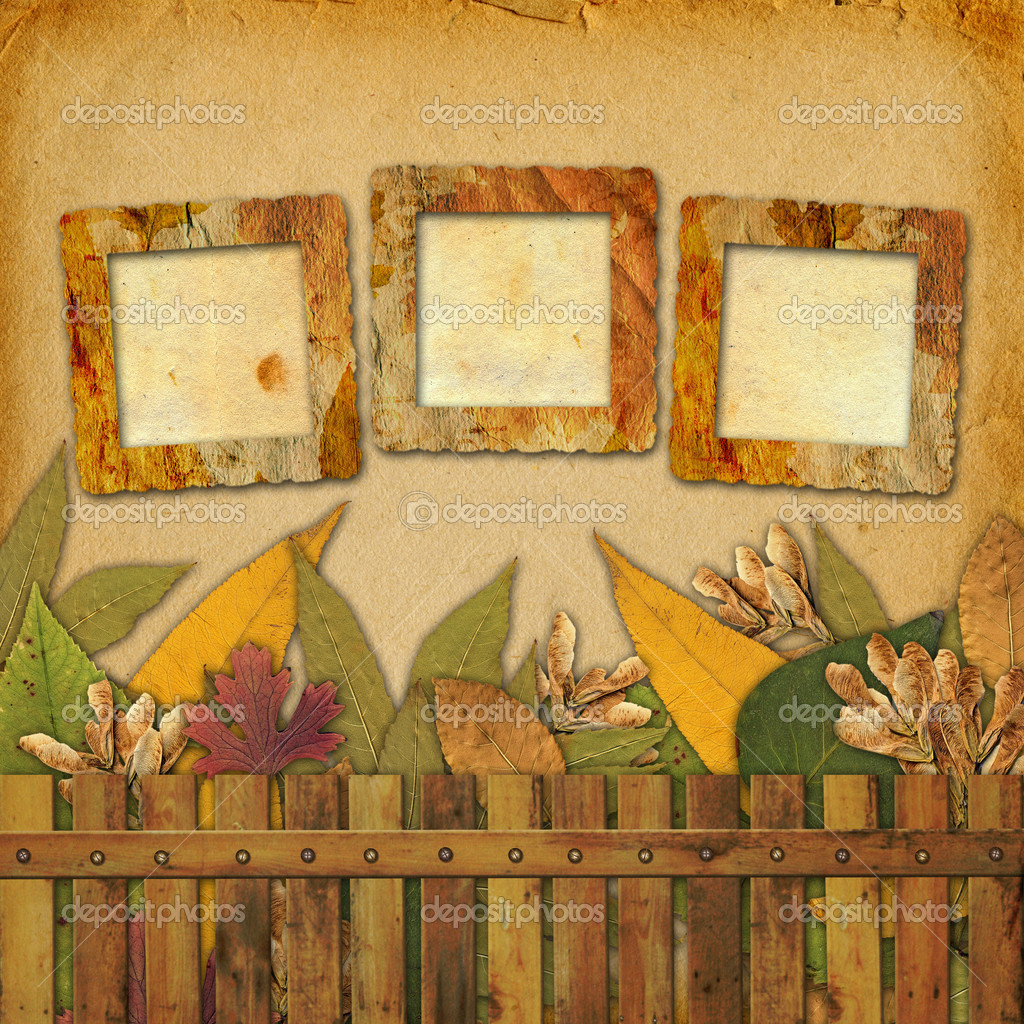 Old grunge frame on the abstract background with autumn leaves