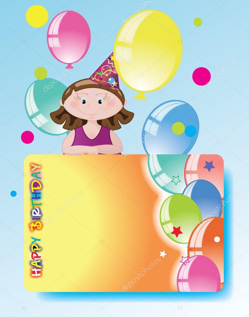 Открытка юбилей, девочка с шарами открытка