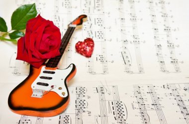 Love song with red rose