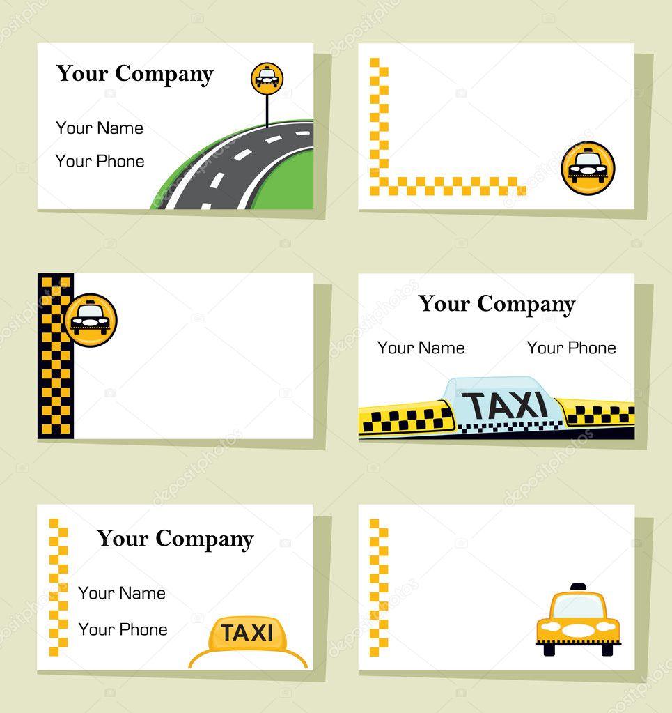 Vektor Satz Von Sechs Taxi Visitenkarten Stockvektor