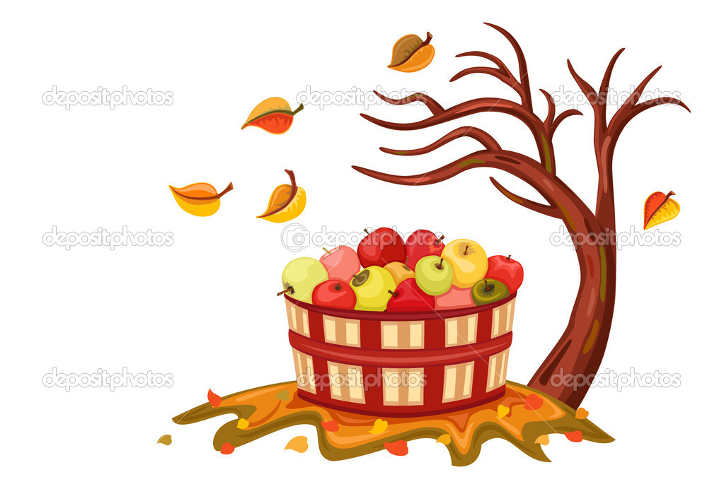 Rich apple harvest in autumn