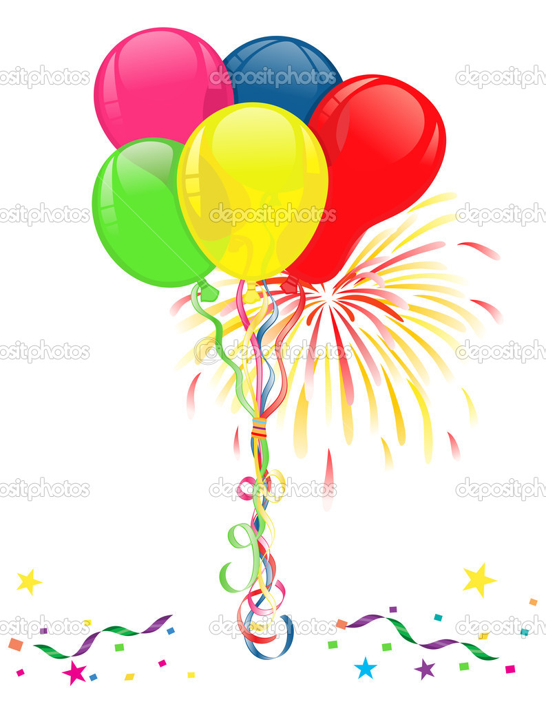 Balloons and fireworks for celebrations