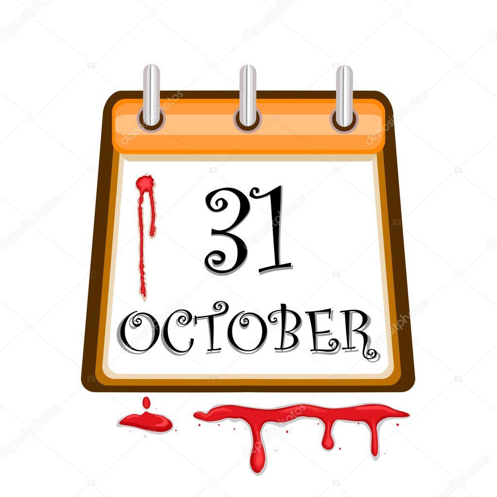 Halloween Bloody Calendar Date — Stock Vector © Eireann #3754146