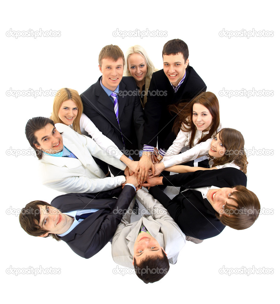 Top view of business with their h