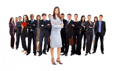 Businesswoman and his team