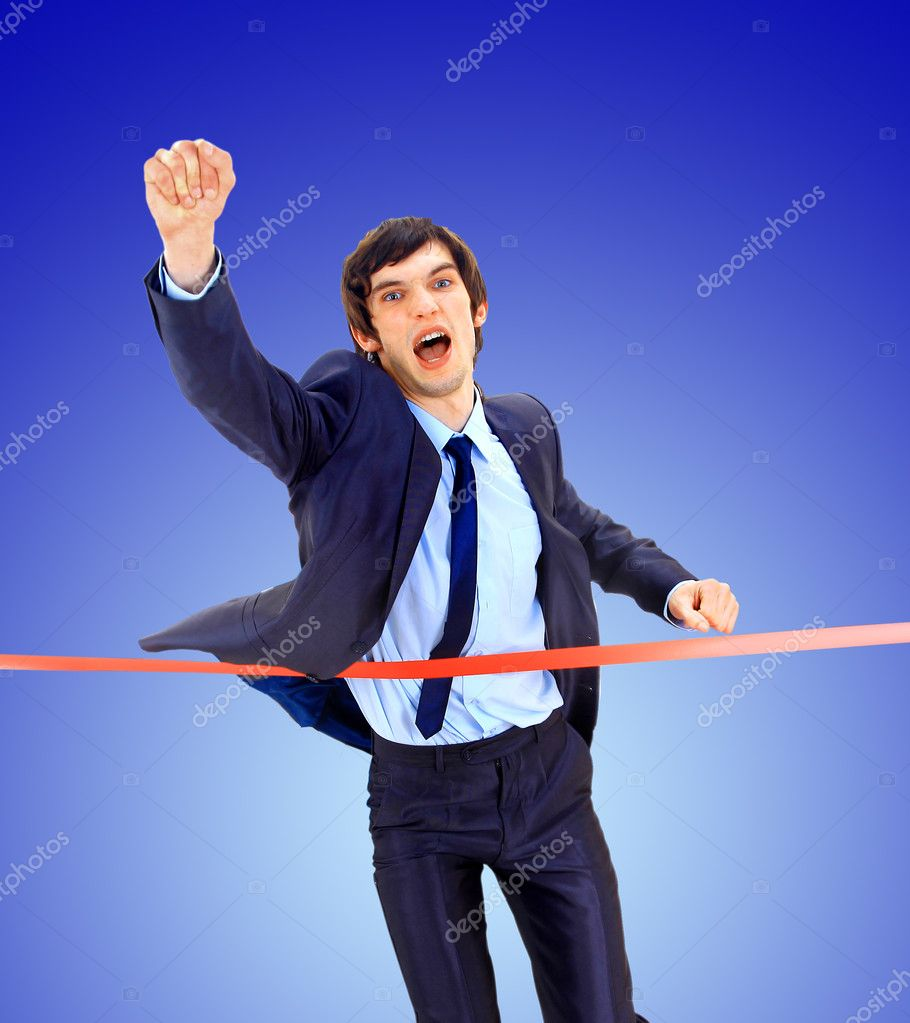 Stock Photo Businesspeople Crossing The Finish Line