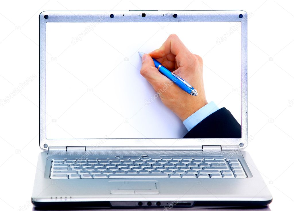 Close up of human hand with pen in display laptops