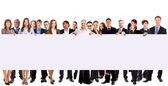Skupina podnikání drží proužkové reklamy, izolované na bílém