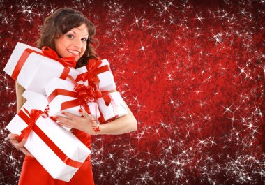 Portrait of a beautiful young woman wearing christmas clothes over sky of s