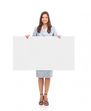Business woman showing blank sign board