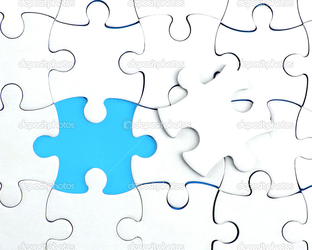 Abstract puzzle background with one piece missing — Stock ...