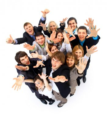 Large group of business . Over white background