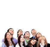 Fotografie closeup portrait von vielen frauen und männern lächelnd und auf der suche nach oben