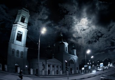 Moscow church at night