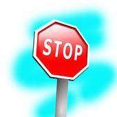 Fotografie Stop sign frame against blue background