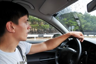 Driving on the wet road