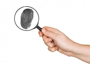 Magnifying glass in hand and fingerprint
