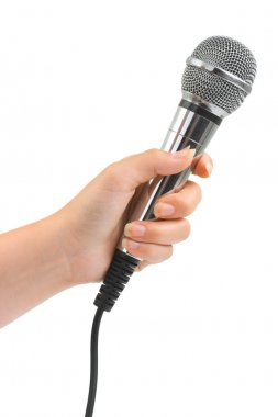 Hand with microphone
