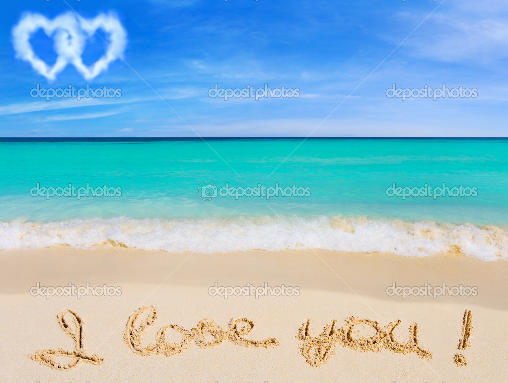 Words I Love You on beach