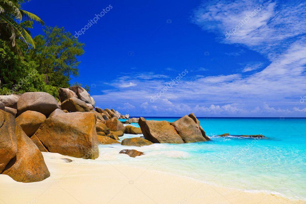 Tropical beach at island Praslin, Seychelles