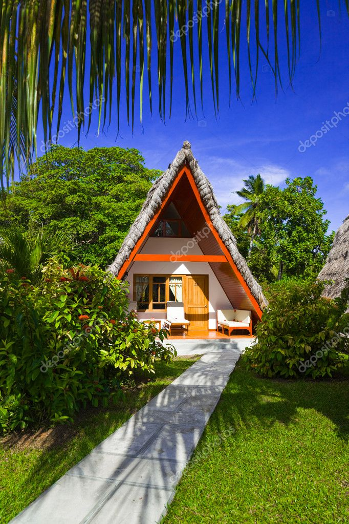 Bungalow in hotel at tropical beach, Seychelles