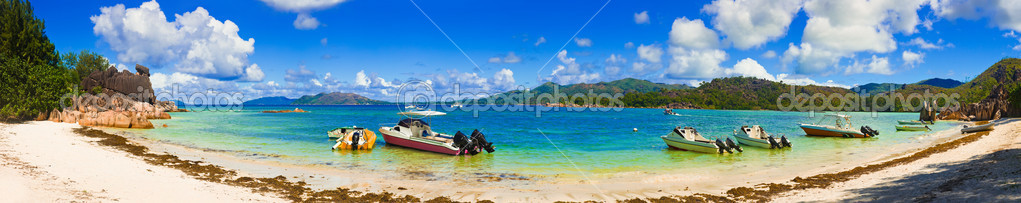 Panorama of beach on island Curieuse at Seychelles
