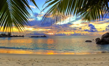 "Картина, постер, плакат, фотообои ""тропический пляж на закате постеры"", артикул 4283113"