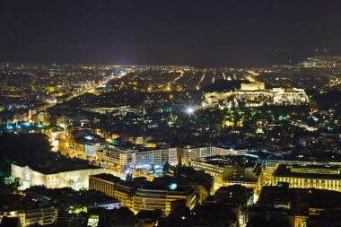 Acropolis and Athens in Greece at night