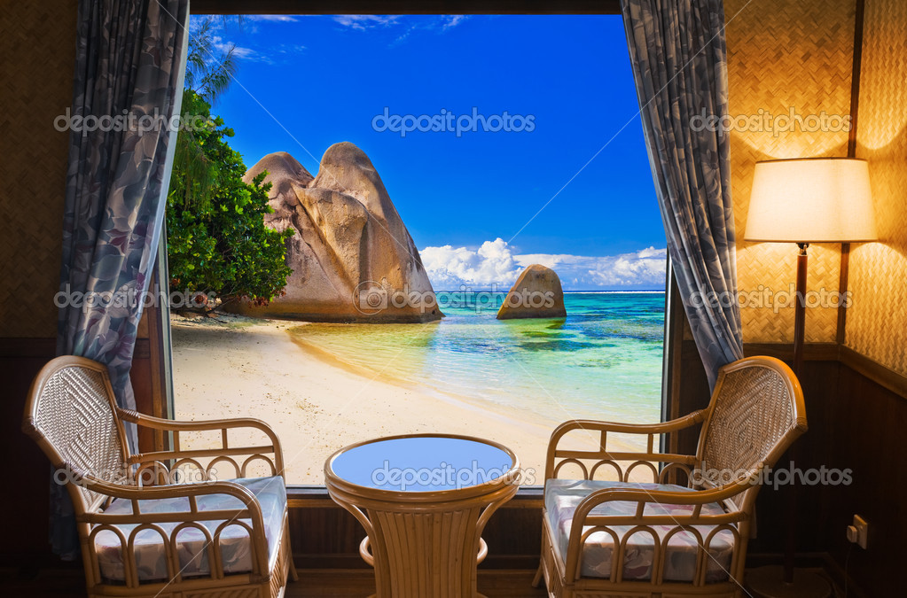 Hotel room and beach landscape