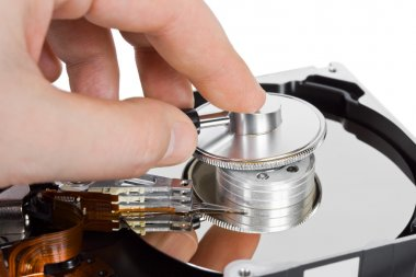 Computer hdd and hand with stethoscope