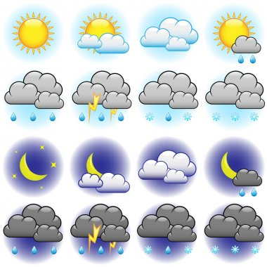 Weather vector icons set isolated on white background. clip art vector
