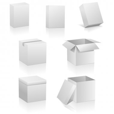 Vector set of blank boxes isolated on white background. Three kinds of boxes is represented: software box, traditional packing box and retail or present box. stock vector