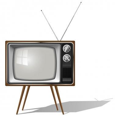 Old-fashioned four legged TV