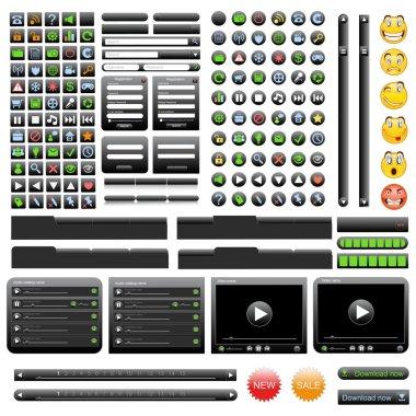 Black web design elements set.