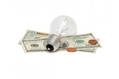 Electric bulb with dollars