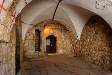 Ancient arched passage in Jerusalem Old City