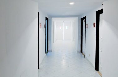 White doors and corridor
