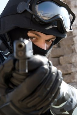 Soldier with a 9mm pistol