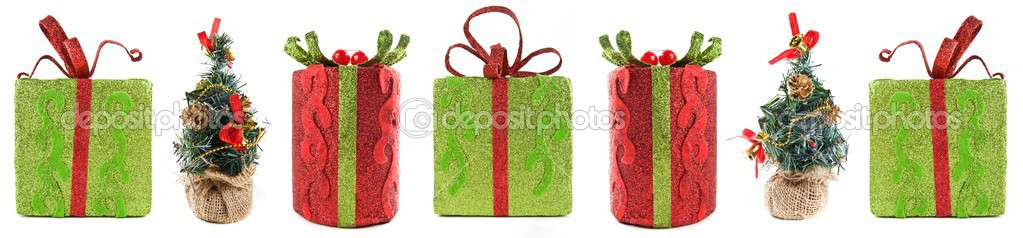 Line of seven isolated Christmas gifts