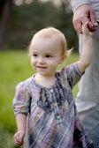 Fotografie Wenig Betrieb Vaters Hand baby
