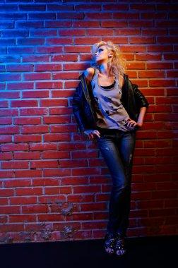 Blonde girl glam rocker