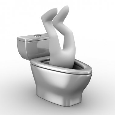 Man into toilet bowl. Isolated 3D image