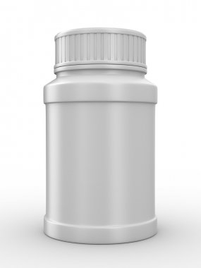 Bottle for tablets on white background