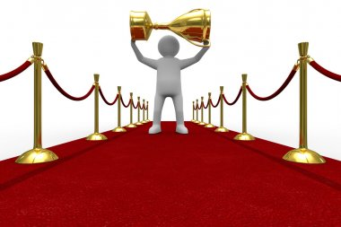 Red carpet on white background. Isolated 3D image stock vector