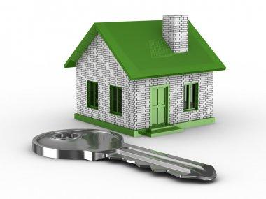Key and house on white background