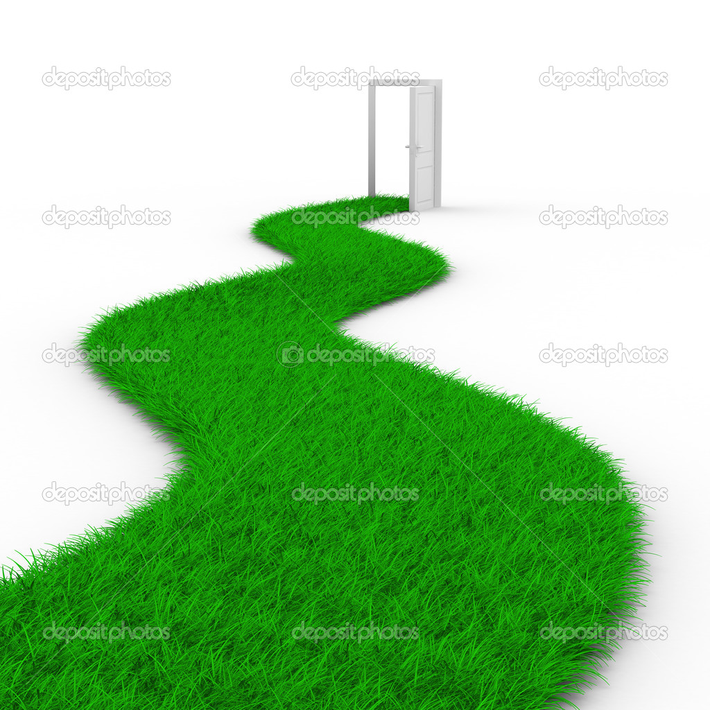 Road to door from grass. Isolated 3D image