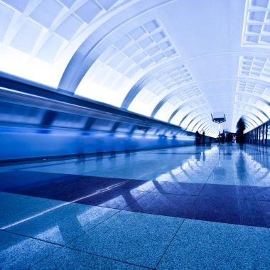 Train on underground platform