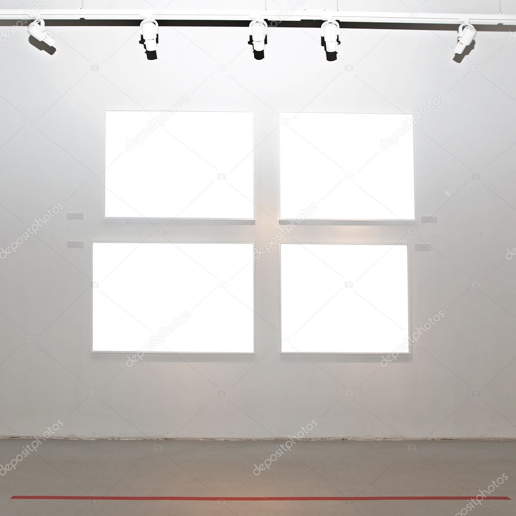 Walls in museum with frames — Stock Photo © babenkodenis #3537056